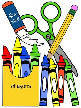 SCHOOL SUPPLIES CLIP ART * COLOR AND BLACK AND WHITE by Molly Tillyer