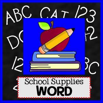 SCHOOL SUPPLIES theme - Newsletter Template WORD