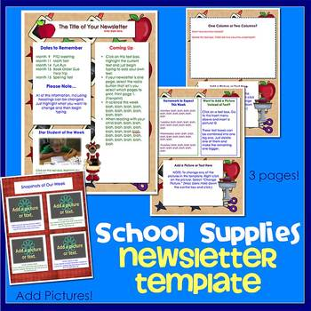 SCHOOL SUPPLIES w/ BEARS theme - Newsletter Template WORD
