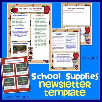 SCHOOL SUPPLIES w/ BEARS theme - Newsletter Template WORD
