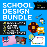 SCHOOL THEME DESIGN BUNDLE! Stock Photos, Clip Art, Border