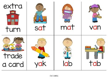 SCHOOL-THEMED Phonics Game Cards BUNDLE - CVC, Blends, and Growing...