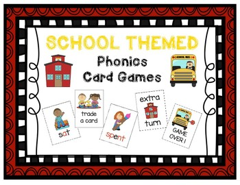 SCHOOL-THEMED Phonics Game Cards BUNDLE - Letters, CVC, Blends, and Growing...