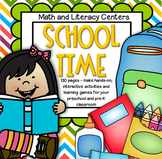 Back to School Interactive Literacy and Math Centers & Activities for Preschool