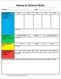 SCHOOL TO HOME/HOME TO SCHOOL COMMUNICATION NOTES