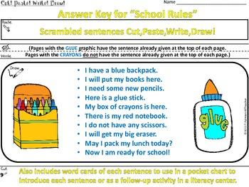 SCHOOL TOOLS ~ Cut, Paste, Write, Draw! Scrambled Sentences