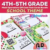 SCHOOL Theme Math Operations QR Code Task Card Bundle