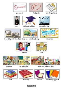SCHOOL - VOCABULARY & PICTIONARY