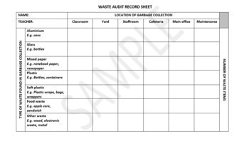 SCHOOL WASTE AUDIT ACTIVITY: SUSTAINABILITY AND ENVIRONMENT