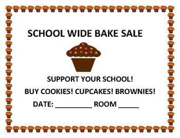 SCHOOL WIDE BAKERY SALE SIGN