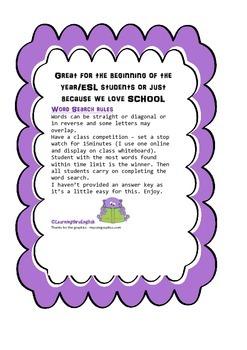 BACK TO SCHOOL WORD SEARCH SCHOOL - HARDER