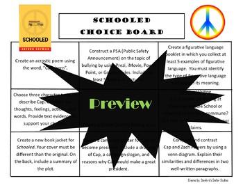 SCHOOLED Choice Board Novel Study Activities Menu Book Project Tic Tac Toe