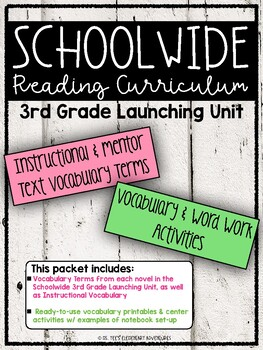 SCHOOLWIDE: Grade 3 Launching Unit Vocabulary & Word Work Activities