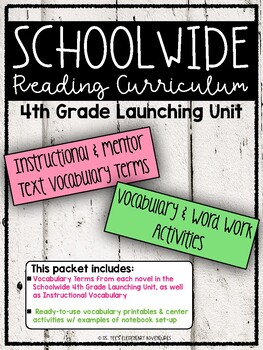 SCHOOLWIDE: Grade 4 Launching Unit Vocabulary & Word Work Activities