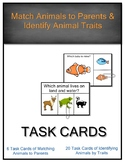 SCI ES 3.3 Animals Match Parents & Identify Animal Traits Task Cards AAA