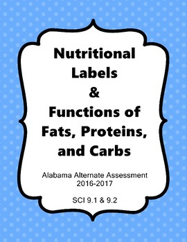 SCI ES 9.1 & 9.2  Nutritional Labels & Function of Fats, Proteins, & Carbs AAA