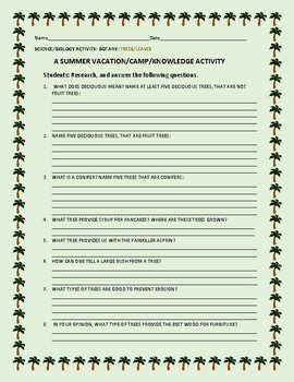 SCIENCE: BOTANY: TREES/ SUMMER/CAMP KNOWLEDGE ACTIVITY