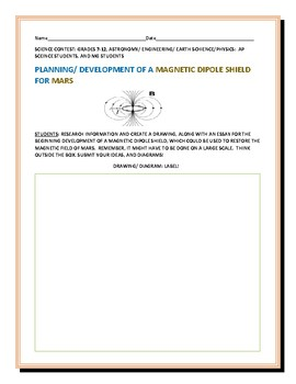 SCIENCE CONTEST: DEVELOPING A MAGNETIC DIPOLE SHIELD w/ Award Certificate