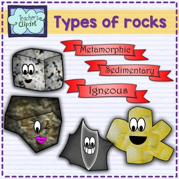 SCIENCE Clipart: Cute 3 types of rocks characters by Teacher's Clipart