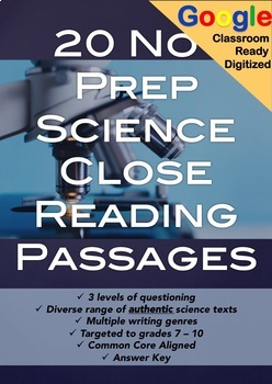 SCIENCE Close Reading Passages and Questions