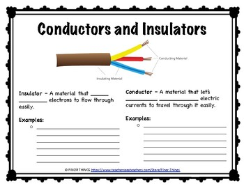 SCIENCE: Conductors and Insulators Worksheet