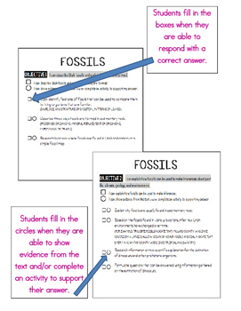 SCIENCE DATA SHEETS - FOSSILS  VOCAB, OBJECTIVES, I CAN STATEMENTS