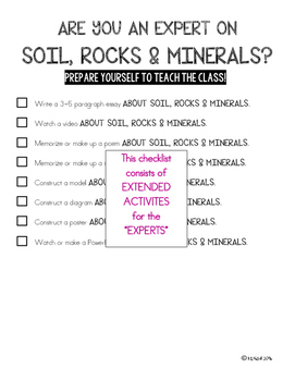 SCIENCE DATA SHEETS - SOIL, ROCKS & MINERALS VOCAB, OBJECTIVES, I CAN STATEMENTS