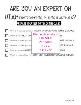 SCIENCE DATA SHEETS UTAH ENVIRONMENTS, PLANTS & ANIMALS VOCAB, OBJECTIVES, I CAN