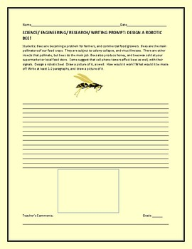 SCIENCE/ENGINEERING RESEARCH/ WRITING PROMPT: DESIGN A ROBOTIC BEE