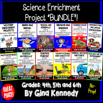 Science Enrichment Projects For the Entire Year! Vocabulary For Every Unit!