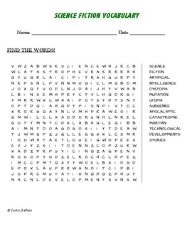 SCIENCE FICTION VOCABULARY - WORD SEARCH