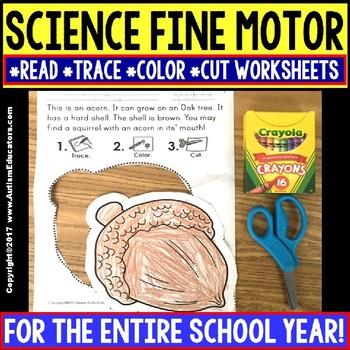 "SCIENCE FINE MOTOR SKILLS Read Trace Color Cut WORKSHEETS ""Growing Bundle"""