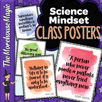 SCIENCE GROWTH MINDSET INSPIRATIONAL POSTER SET - WATER COLOR