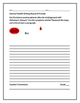 SCIENCE/ HEALTH WRITING RESEARCH PROMPT: PERNICIOUS ANEMIA