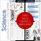 SCIENCE Interactive Notebook Cover, Grading Rubric, and Ta