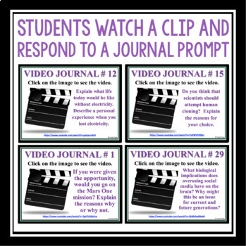 SCIENCE JOURNALS - VIDEO WRITING PROMPTS