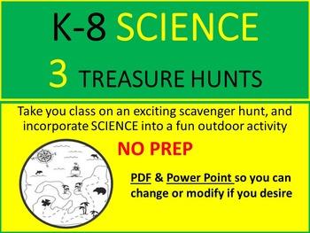SCIENCE K-8 SCAVENGER/TREASURE HUNTS - 3 ACTIVITIES - NO PREP - PDF & POWERPOINT