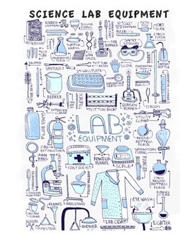 SCIENCE LAB EQUIPMENT: STUDY GUIDE, QUIZ, ANS. KEY, WORD SEARCH/CROSSWORD