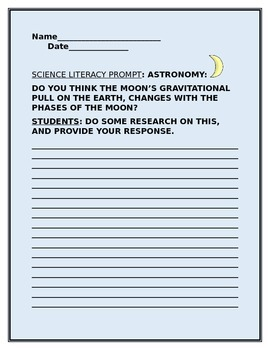 SCIENCE LITERACY PROMPT: THE MOON AND GRAVITY