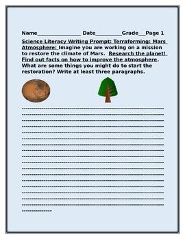 SCIENCE LITERACY WRITING PROMPT: TERRAFORMING MARS!
