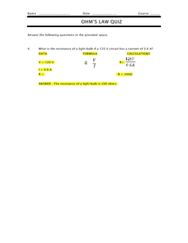 SCIENCE - Ohms Law Quiz/TEST and Detailed Key