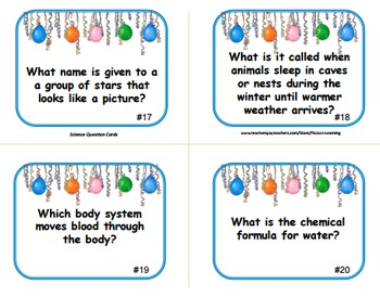 SCIENCE QUESTION CARDS