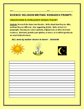 SCIENCE/RELIGION RESEARCH PROMPT: CREATIONISM & INTELLIGENT DESIGN