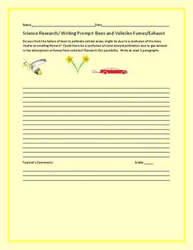 SCIENCE RESEARCH/ WRITING PROMPT: BEES AND VEHICLE EXHAUST