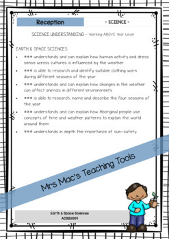 Science - Australian Curriculum - Report Writing - Foundation - Reception