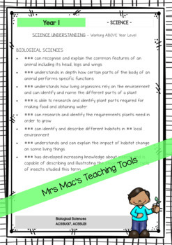 SCIENCE - Report Writing Comments - Year 1 - Australian Curriculum