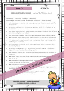 SCIENCE - Report Writing Comments - Year 3 - Australian Curriculum
