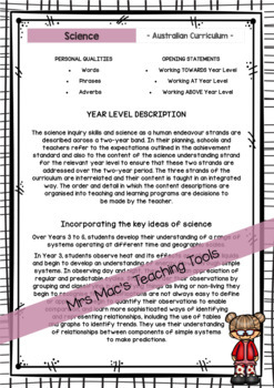 Science - Australian Curriculum - Report Writing - Year 3