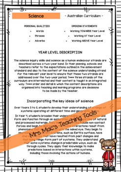 SCIENCE - Report Writing Comments - Year 4 - Australian Curriculum