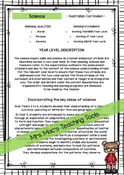 SCIENCE - Report Writing Comments - Year 5 - Australian Curriculum